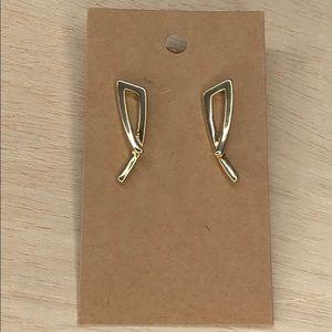 Vintage gold tone metal statement earrings